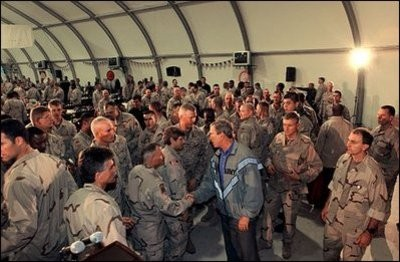 President Bush visiting the troops