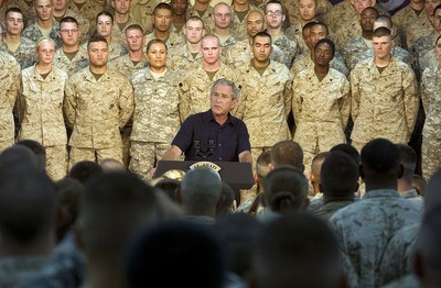 President Bush visits the troops