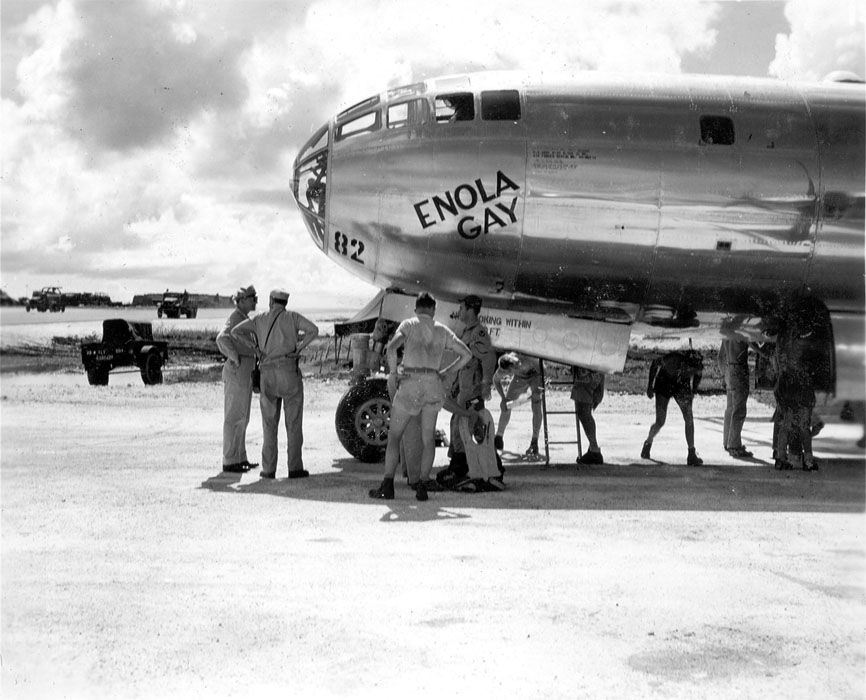 Enola Gay and crew prior to flying off on her mission