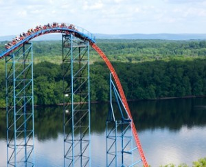 Superman-The Ride at Darien Lake. It's taller than this pic makes it, and faster. It's doing 80 at the bottom of this rise. Amazingly, on a clear day, you can see clear over to grand island New York, and the roller-coaster at Fantasy Island, there.  Well... for a second or two, anyway.