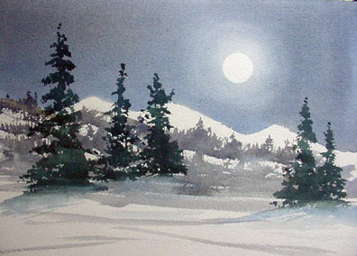Winter Moon, watercolor, Chris Tessnear courtesy Blisstree.com